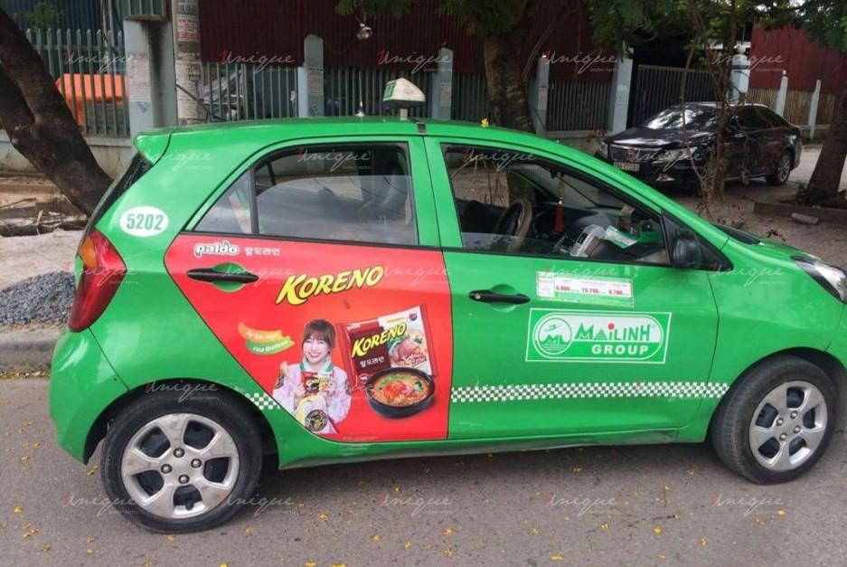 quảng cáo trên xe taxi tại điện biên