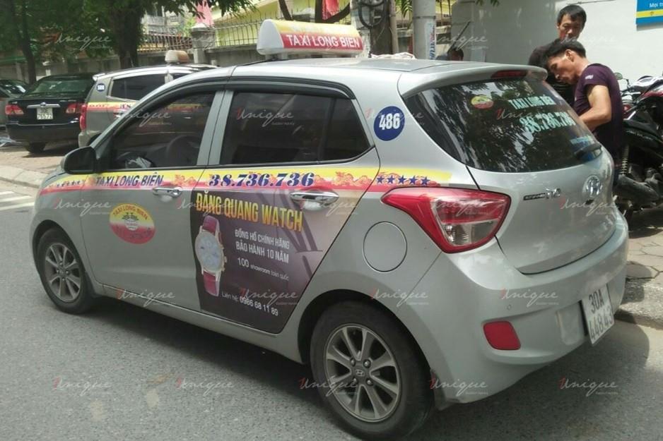 quảng cáo trên xe taxi tại Hà Nội