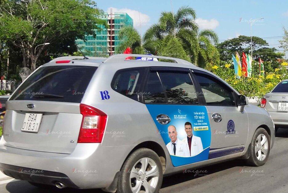 quảng cáo trên taxi tại cà mau