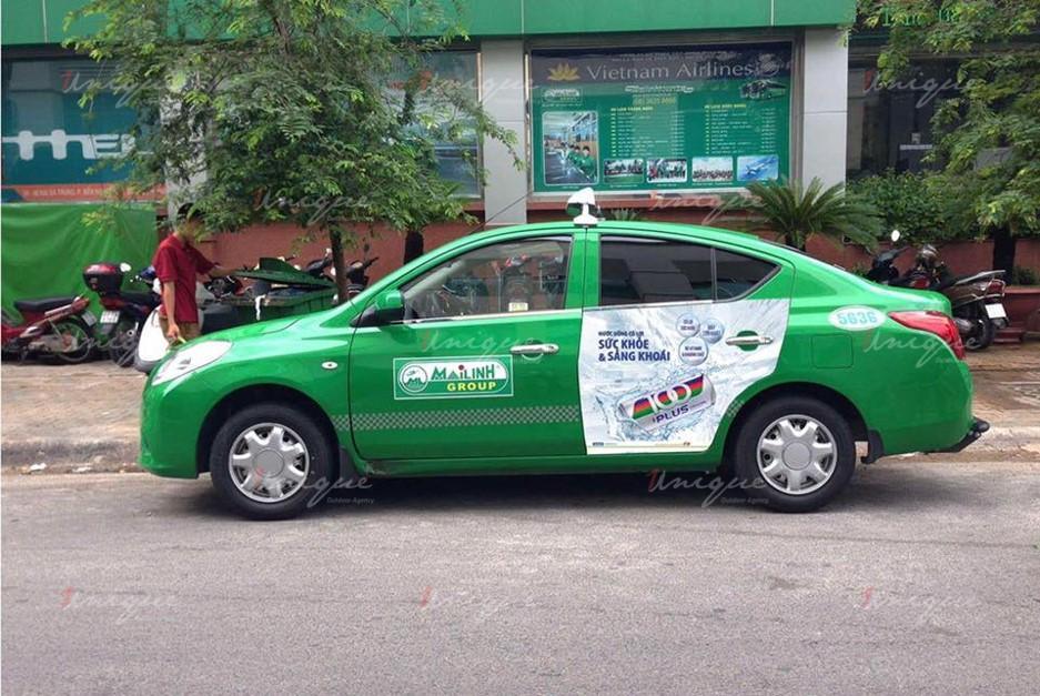quảng cáo trên taxi tại hòa bình