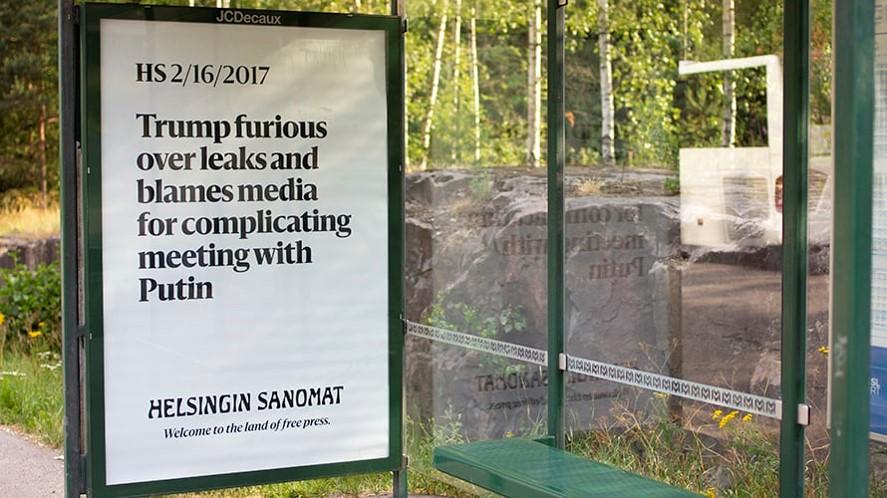 300 Billboards quảng cáo truyền thông về tự do báo chí tại Phần Lan