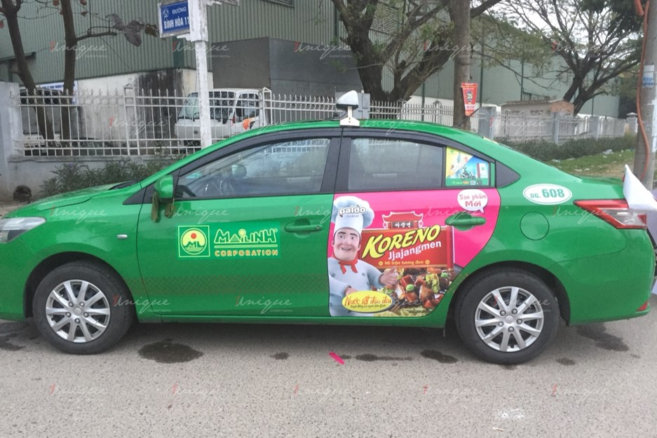 quảng cáo trên xe taxi tại Hà Nam