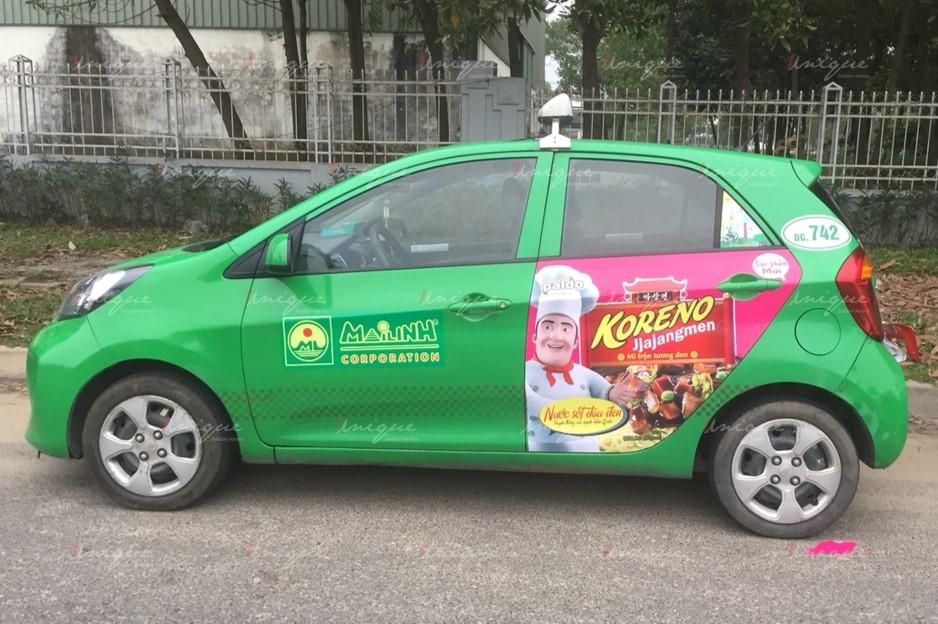 quảng cáo trên xe taxi tại Huế