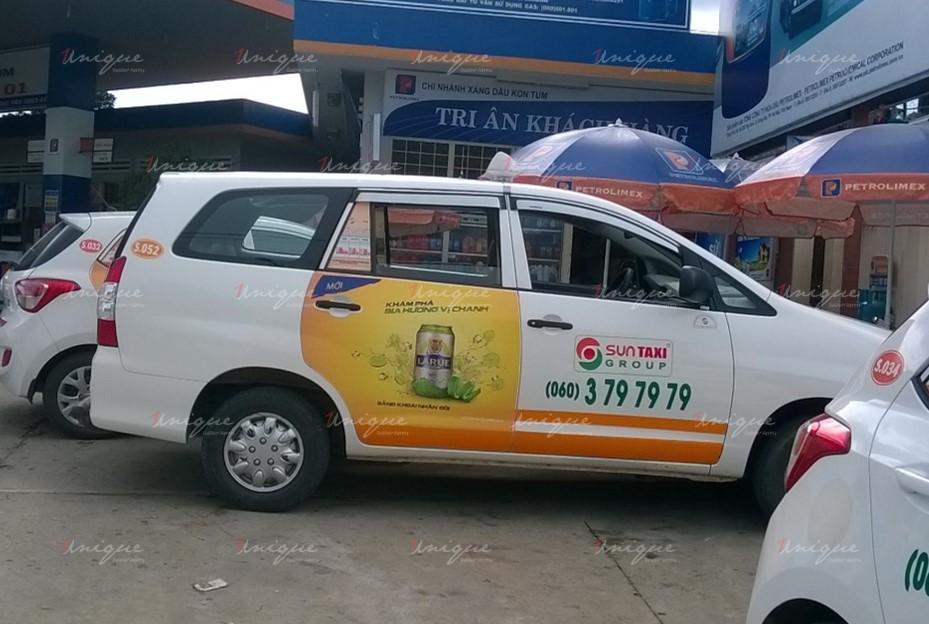 quảng cáo trên xe taxi tại Quảng nam
