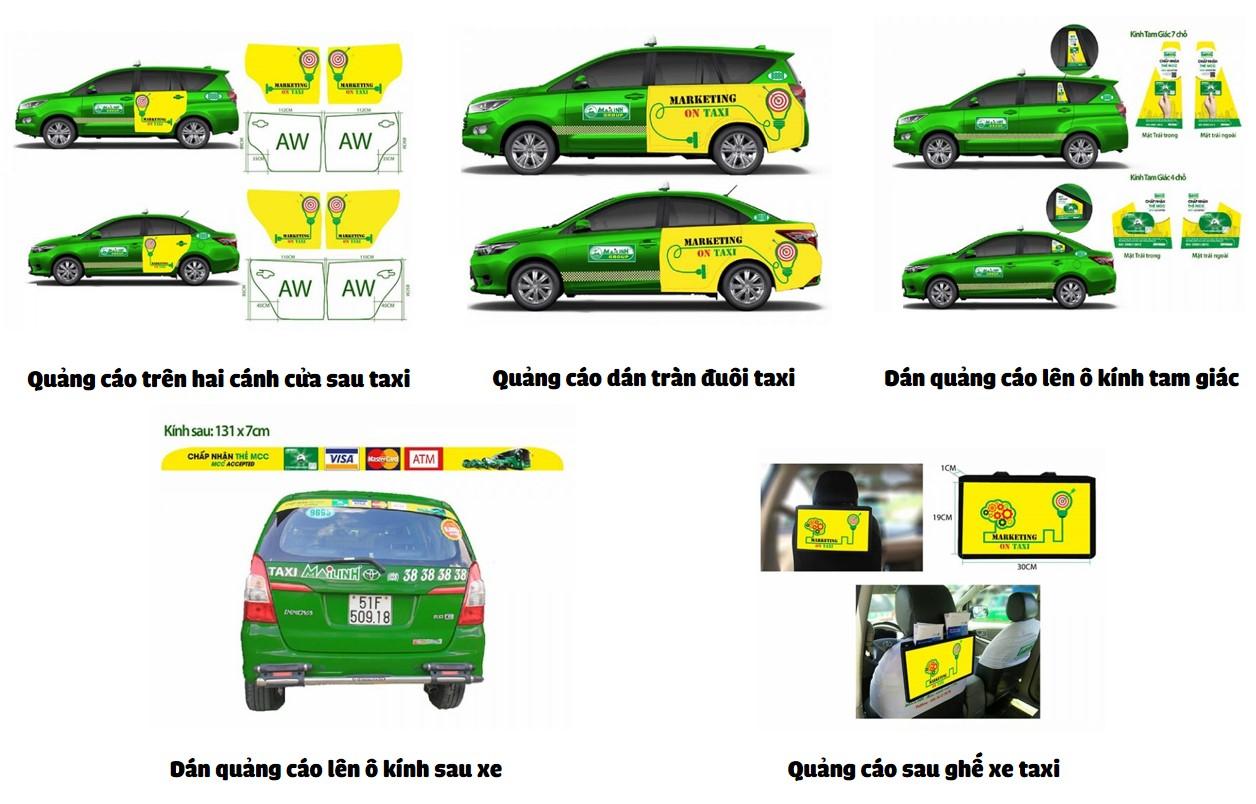 các vị trí quảng cáo trên taxi
