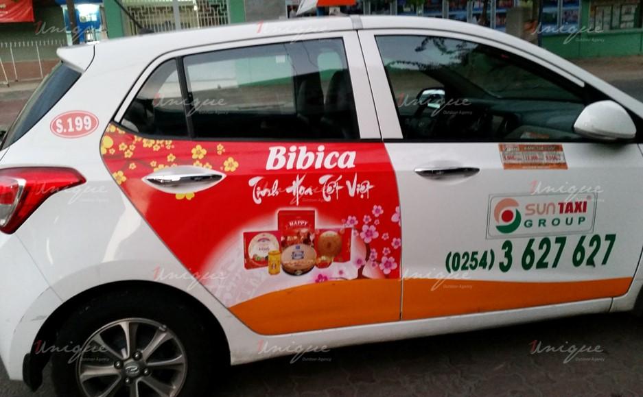 quảng cáo trên xe taxi tại Bình Định
