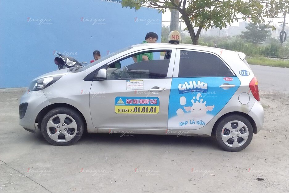quảng cáo trên taxi tại nam định