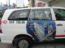 dự án quảng cáo trên taxi của căn hộ Topaz Elite