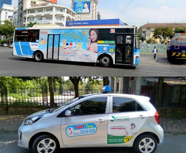 quảng cáo trên xe buýt hay taxi