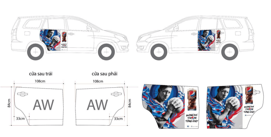 Thiết kế Maquette quảng cáo trên xe taxi