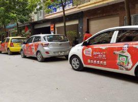 chiến dịch quảng cáo trên ô tô grab uber của Mì Cung Đình