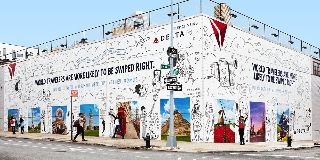 Chiến dịch quảng cáo ngoài trời độc đáo của Delta AirLines thu hút khách du lịch