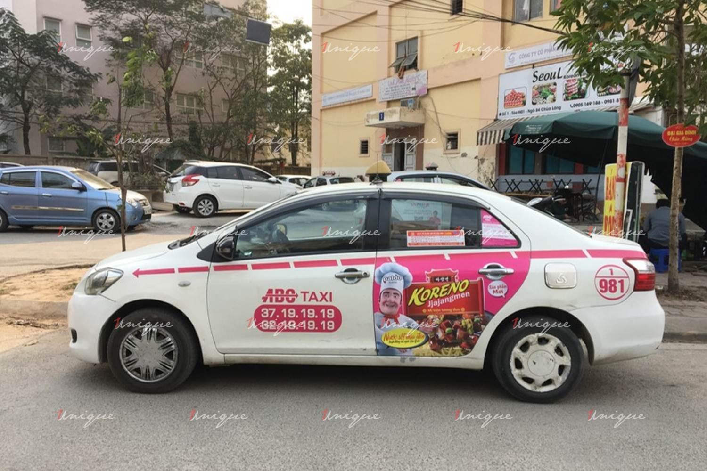 Quảng cáo trên taxi ABC tại Hà Nội