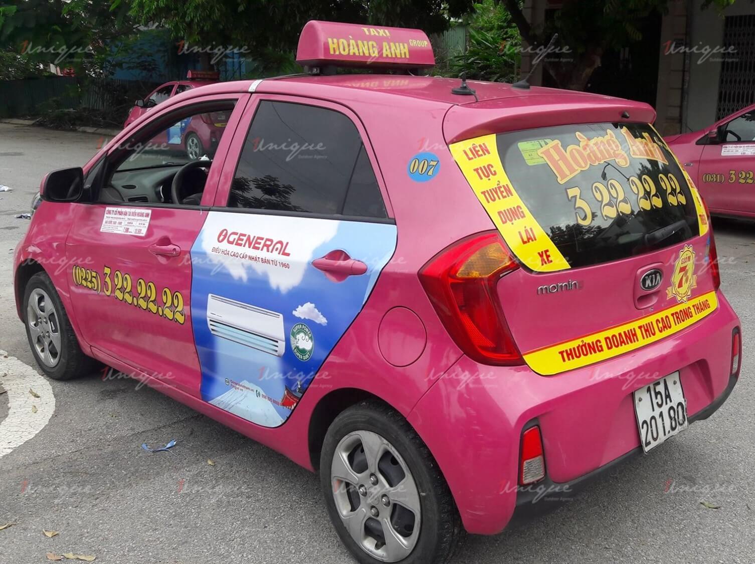 Quảng cáo trên taxi Hoàng Anh tại Hải Phòng