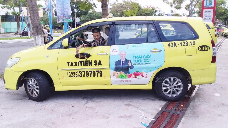 quảng cáo trên taxi tiên sa