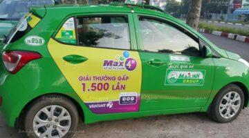 quảng cáo trên xe taxi tại Tây Ninh