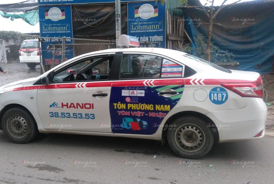 quảng cáo trên xe taxi tại Hưng Yên