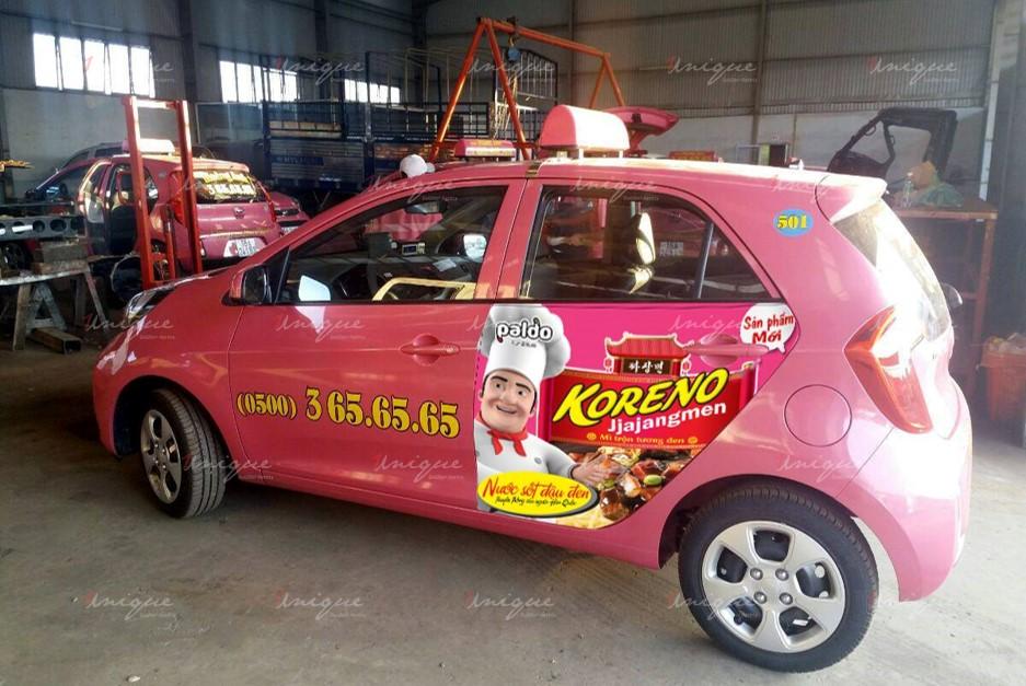 quảng cáo trên xe taxi tại Tây Nguyên