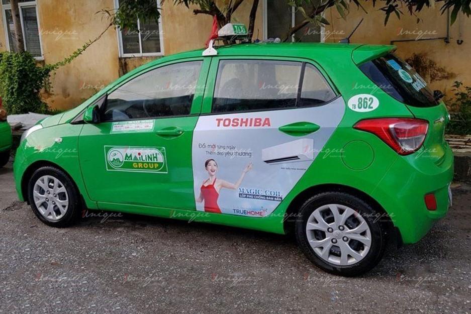quảng cáo trên xe taxi tại Thái Bình