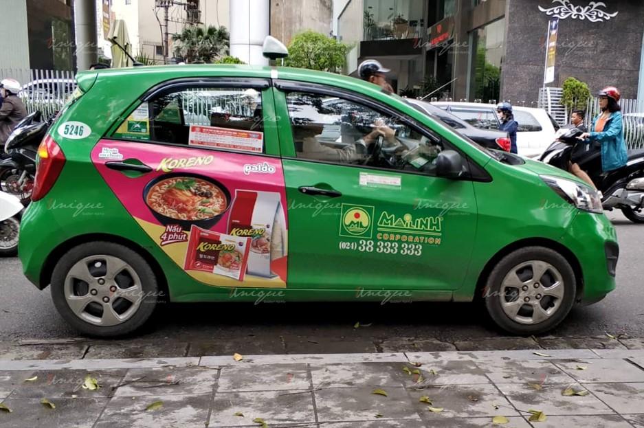 quảng cáo trên xe taxi tại Tuyên Quang
