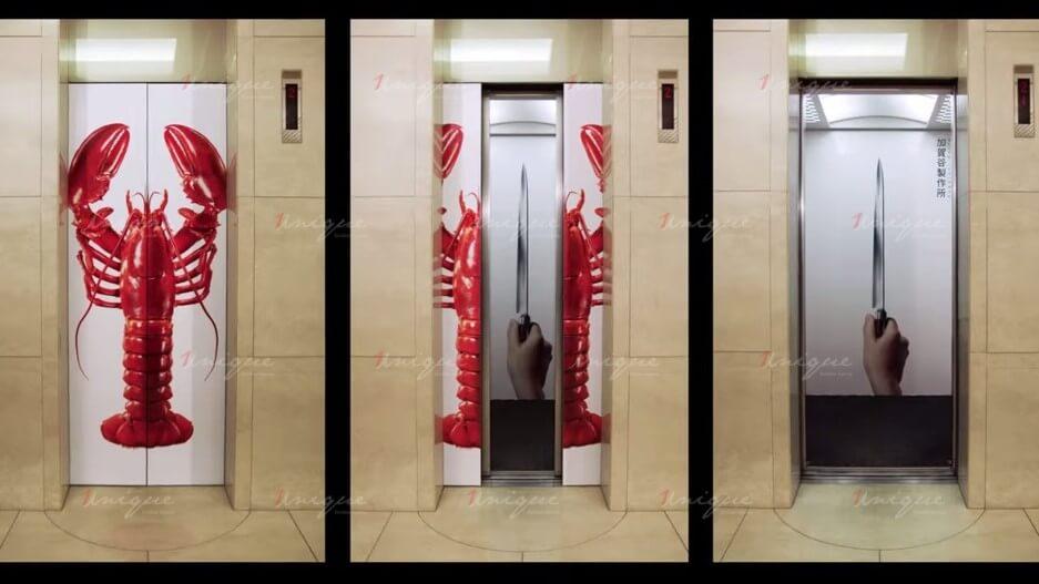 quảng cáo trên cửa thang máy