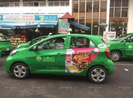 Chiến dịch quảng bá cho sản phẩm Koreno Jjajangmen trên xe taxi