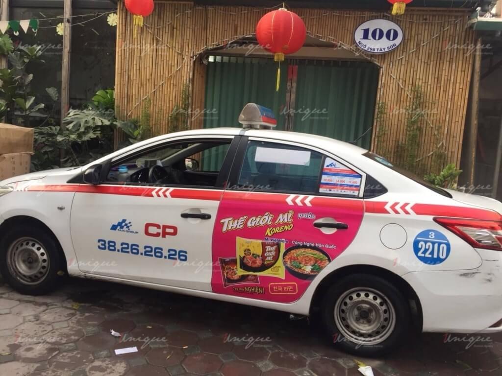 Quảng cáo trên taxi Koreno Tết 2019
