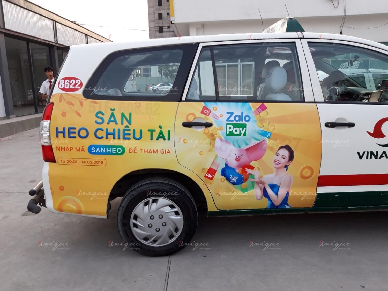 zalopay quảng cáo trên taxi