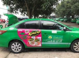 mỳ ăn liền koreno quảng cáo trên taxi