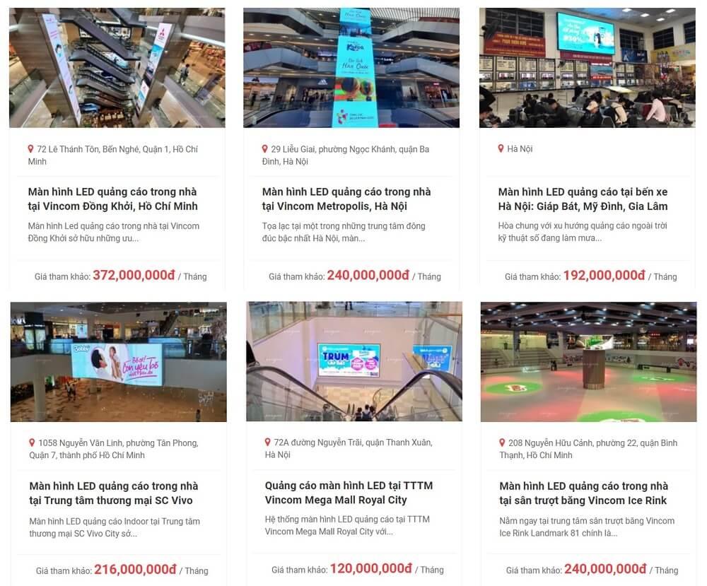 báo giá màn hình LED quảng cáo