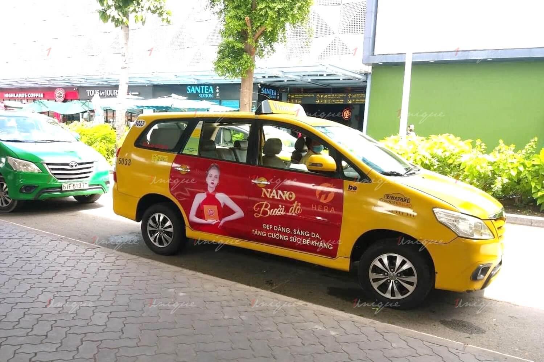 Hera Nano bưởi đỏ quảng cáo full 4 cánh taxi Vina