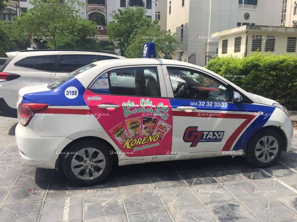 Koreno quảng cáo trên xe taxi ra mắt sản phẩm mỳ cốc mới siêu hot