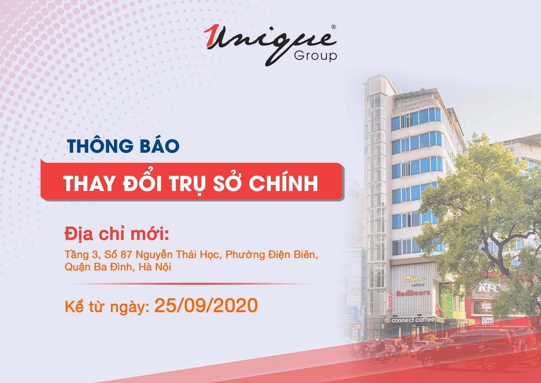 Unique Group thay đổi địa chỉ văn phòng trụ sở chính