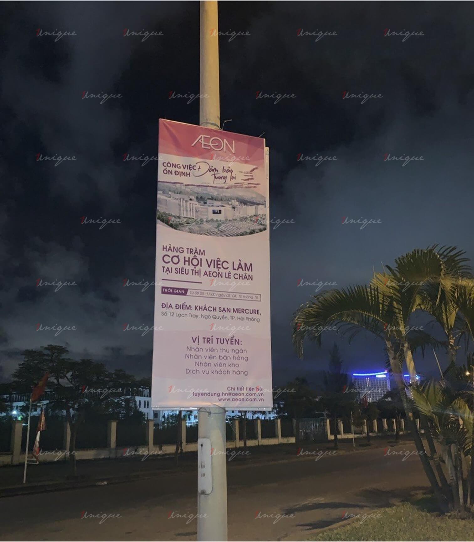 aeon mall quảng cáo banner phướn