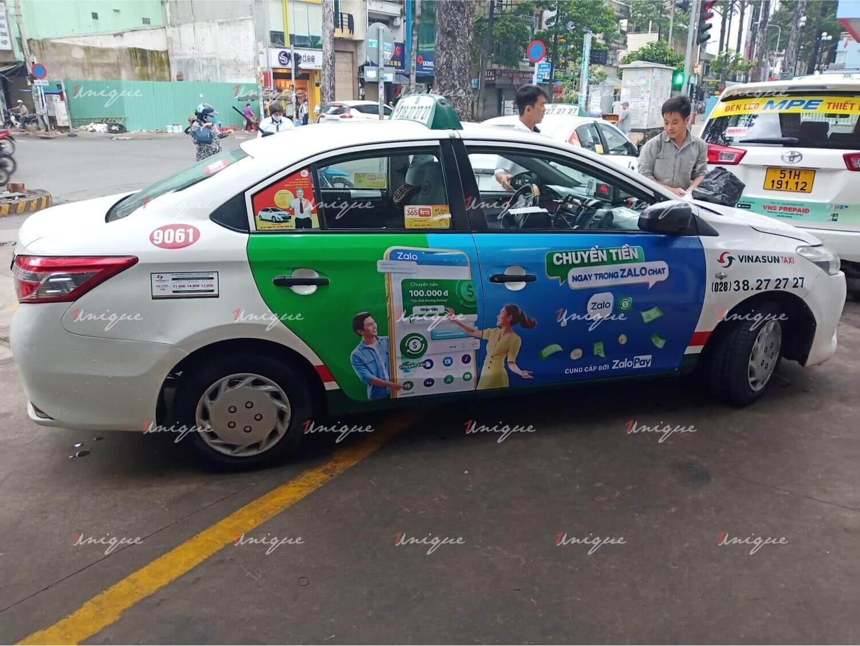 ZaloPay dán quảng cáo tràn 4 cánh taxi VinaSun tại Hồ Chí Minh