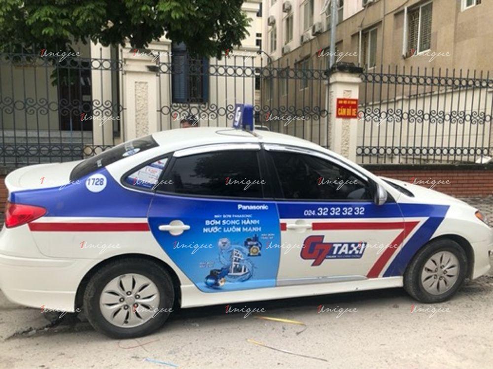 Máy bơm Panasonic quảng cáo trên xe taxi G7 2020