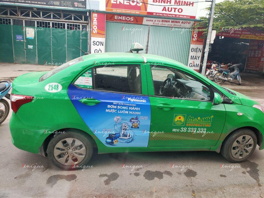 Máy bơm Panasonic quảng cáo trên xe taxi Mai Linh 2020