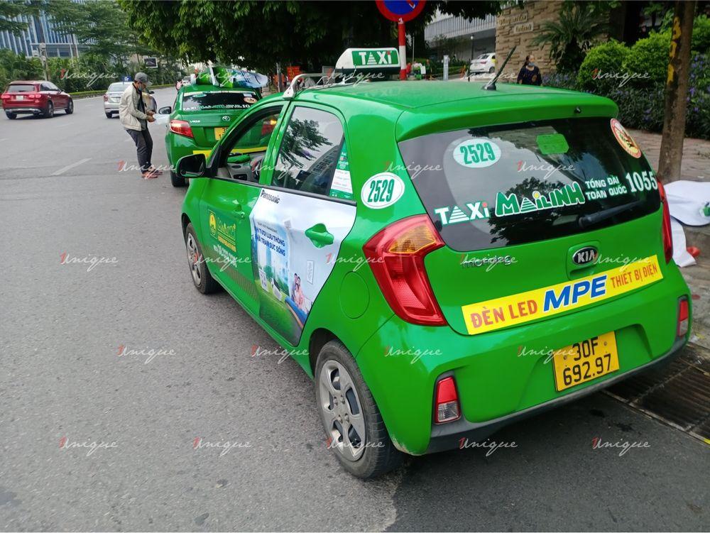 Quạt hút Panasonic quảng cáo trên xe taxi Mai Linh 2020