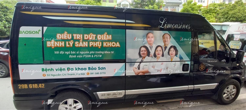 Bệnh viện Bảo Sơn quảng cáo trên xe khách Limousine