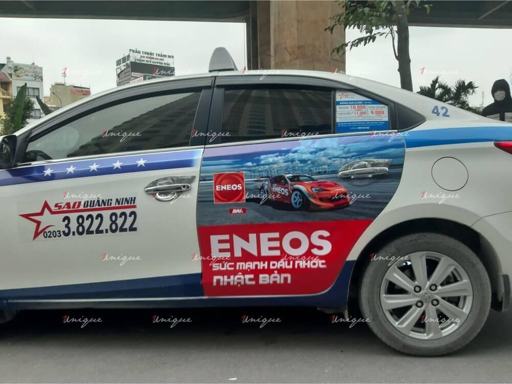 Eneos quảng cáo trên taxi tại Quảng Ninh