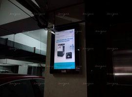 máy photo sindoh quảng cáo trên màn hình frame