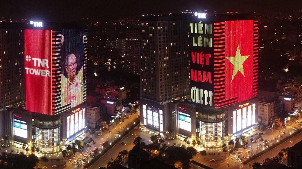Led Building TNR Tower cổ vũ đội tuyển U23 Việt Nam