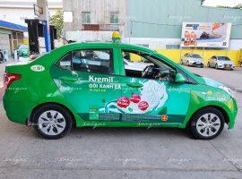 Thuốc dạ dày Kremil quảng cáo trên xe taxi