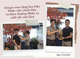 Unique trao huy hiệu cho nhân viên chính thức và khen thưởng nhân sự xuất sắc của quý