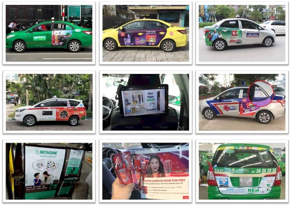 các hình thức quảng cáo trên taxi